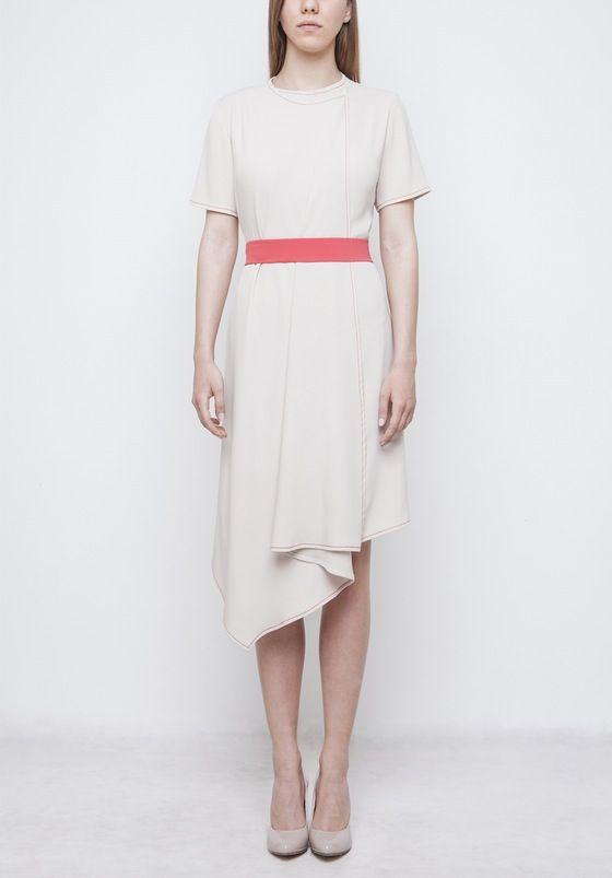 Image of Beige Dress With Belt