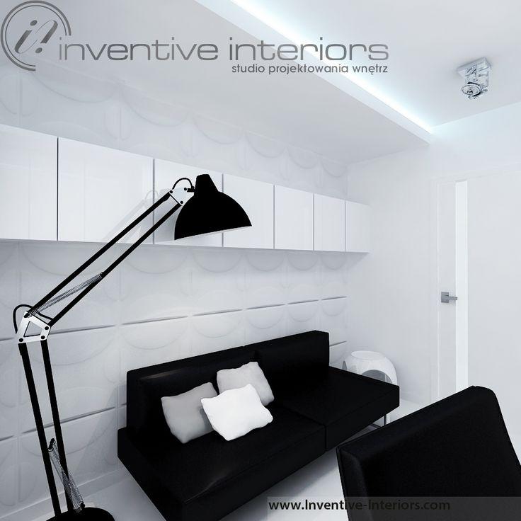 Projekt gabientu Inventive Interiors - minimalistyczny biało czarny gabinet - dekoracyjne panele 3d