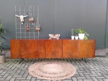Dressoir 2.44 m vintage design lowboard retro tv-meubel kast