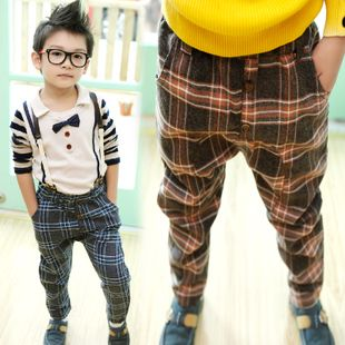 children boy plaid strap casual pants pants z0942 2013 autumn korean version of the new childrens clothing only $15.53USD a Piece