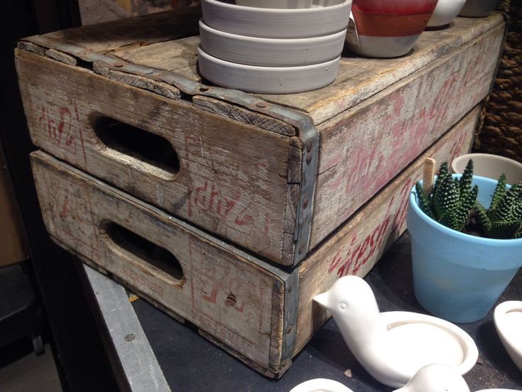 Crates for kitchen storage (seen at west elm) from builders merchants shoreditch market