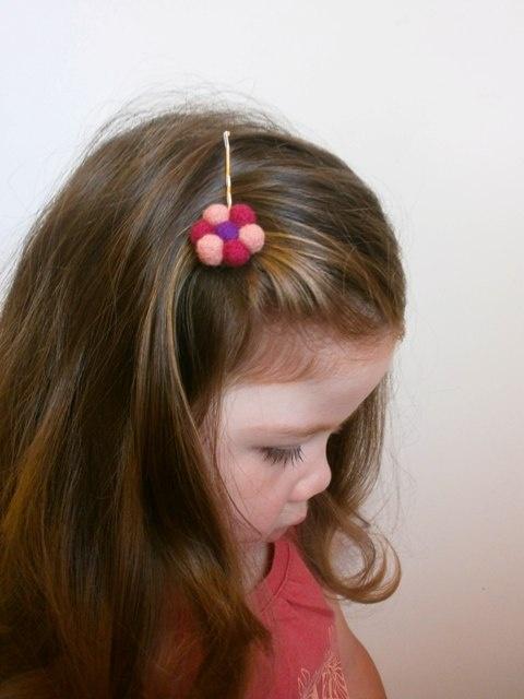 Flower Needle Felted Hair Clip