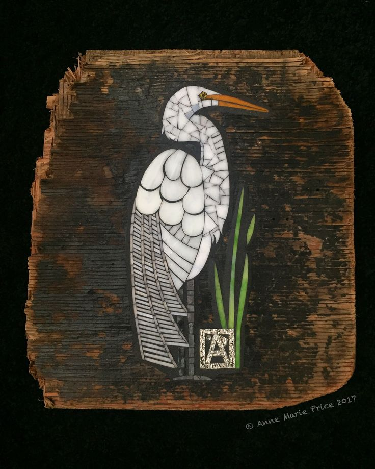 """""""Egret"""" Fine Mosaic Art by Anne Marie Price. www.ampriceart.com #mosaic #art #mosaicart #AnneMariePrice #egret #bird #CA #driftwood #stainedglass #white #upcycle #wood"""