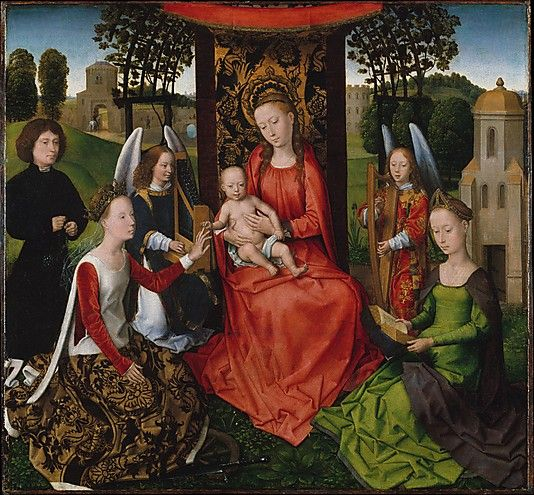 Virgin and Child with Saints Catherine of Alexandria and Barbara early 1480's look at the sideless surcoat