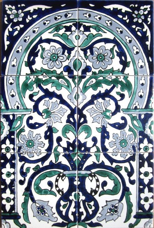 DECORATIVE CERAMIC TILES: mosaic panel hand painted home wall decor kitchen bathroom shower backsplash  pool patio spa art tile  18in x 12in...