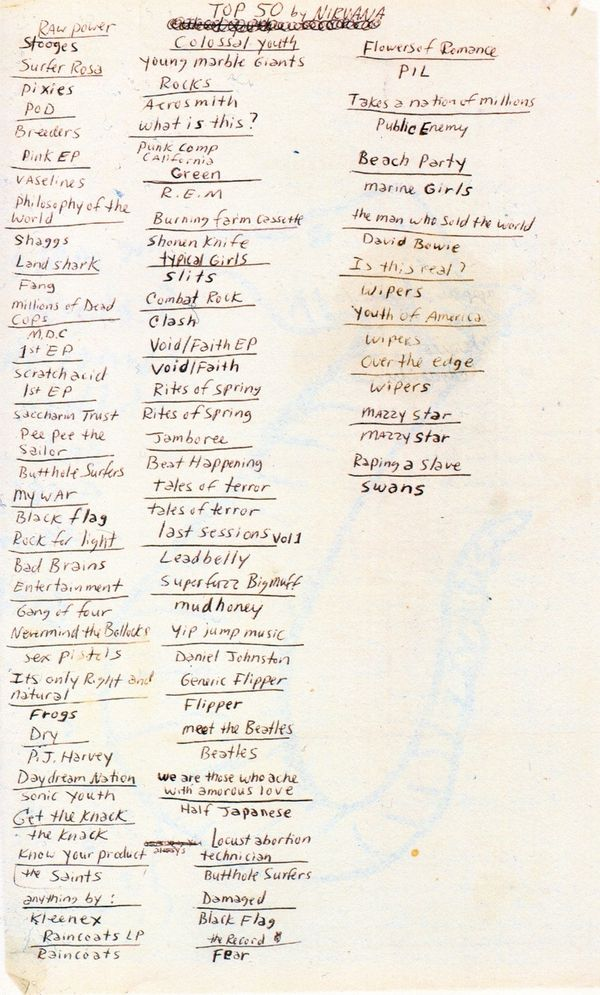 kurt-cobains-list-of-his-top-50-albums. Not I'd put many in my top 50 but love many of the records on the list.