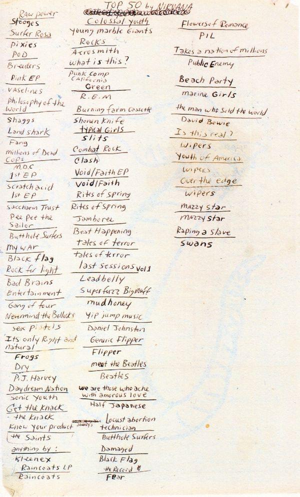 ¿Cuáles eran los cincuenta discos predilectos de Kurt Cobain, una de las figuras musicales más relevantes en el último cuarto del siglo XX?