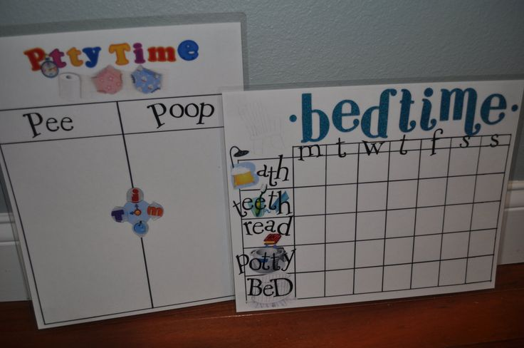DIY toddler charts to make at home. Potty chart and bedtime routine. Use stickers to mark each task or accomplishment.