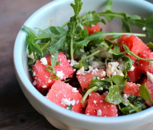 Fresh and super easy to make, this watermelon, mint and feta salad is a perfect summer side dish.