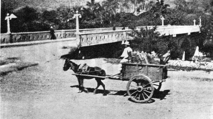 Maria Victoria ForyCALI VIEJO - Memoria fotogràfica.    Ayer      .  Preciosa vista de la Cra 1 con calle 12 en ese tiempo llamada Avenida Uribe-Uribe.  Año 1925.  Archivo familiar.