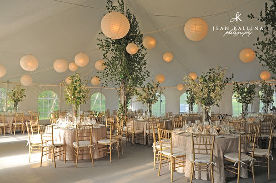 Wedding marquee with lanterns and trees