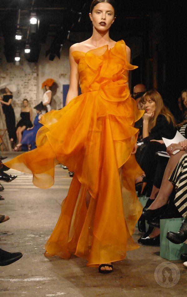 Carla Zampatti Tangerine Silk Organza Strapless Petal Gown