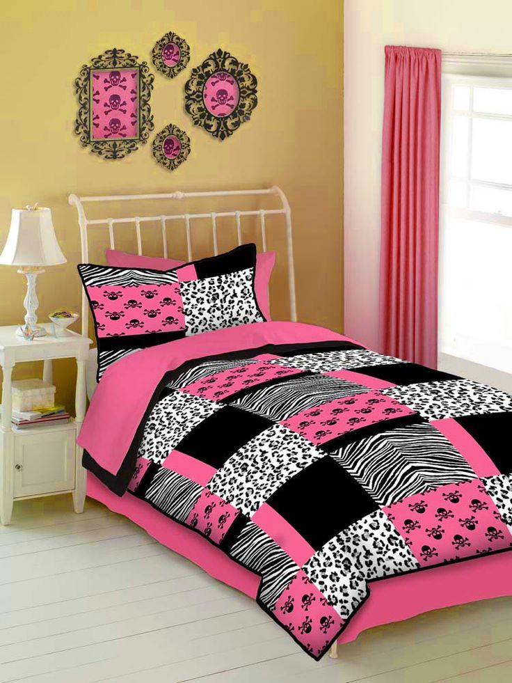 Pink And Black Animal Print Teen Girl Skull Bedding Twin Comforter Set Or Bed In A