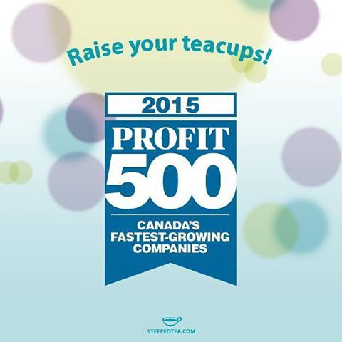 EXCITING NEWS!! Canadian Business and PROFIT ranked Steeped Tea number 20 on the 27th annual PROFIT 500, the definitive ranking of Canada's Fastest-Growing Companies :) We'd like to extend a huge thank-you to our Independent Consultants across North America. We truly couldn't have done it without you! http://www.steepedtea.com/steeped-tea-ranks-20th-on-the-2015-profit-500/