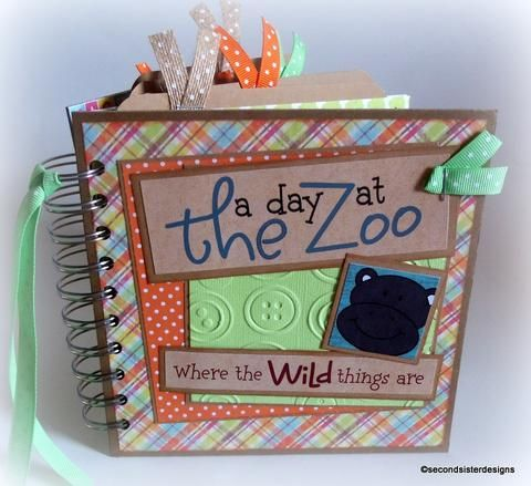 premade mini chipboard scrapbook a day at the zoo by secondsisterdesigns 2ndsisterdesigns