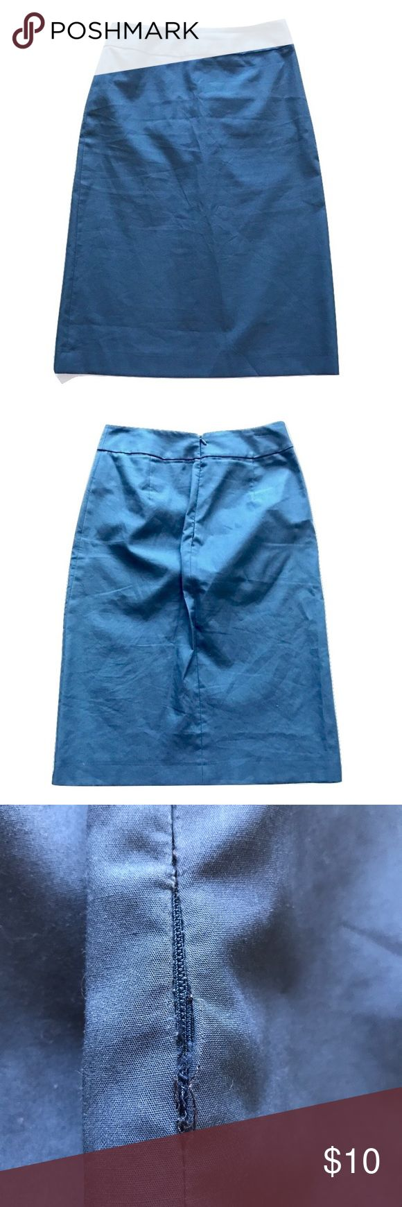 J. Crew Dusty Blue Pencil Skirt Size 2 Simple cotton pencil skirt by J. Crew. Zips up the back. Seam is coming apart at the zipper as seen in last photo. That is the only flaw and a simple fix! 👍🏻 Price reflects this flaw. Comes from a smokefree home! J. Crew Skirts