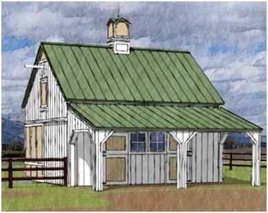The Chestnut Woods Horse Barn is an economical, two-stall, pole-barn that can be expanded to three or four stalls in the future. Building plans are available at BackroadHome.net. Click on the barn to read more and to see a floor plan and dimensions.