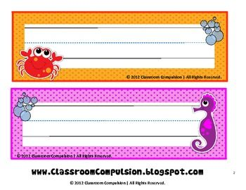 FREE Adorable Ocean Name Plates - Classroom Compulsion - TeachersPayTeachers.com