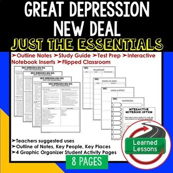 Great Depression / New Deal Outline Notes JUST THE ESSENTIALS Unit Review, Study Guide, Test Prep American History Outline Notes, American History Test Prep, American History Test Review, American History Study Guide, American History Summer School, American History Unit Reviews, American History Interactive Notebook Inserts