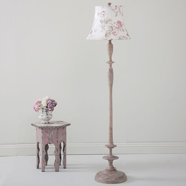 Sybil floor lamp shown with spring floral silk lamp shade