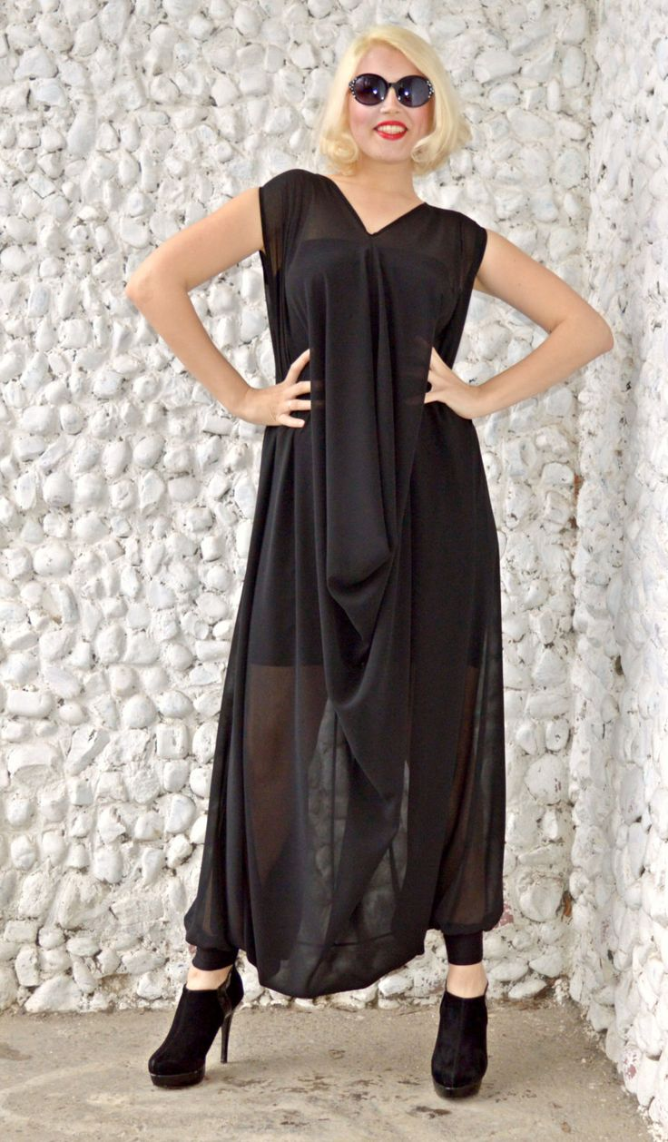 Black t shirt dress etsy - Extravagant Black Jumpsuit Classy Sheer Jumpsuit With Underneath Little Black Dress Plus Size Jumpsuit Tj19 Https Www Etsy Com Listing 271582743