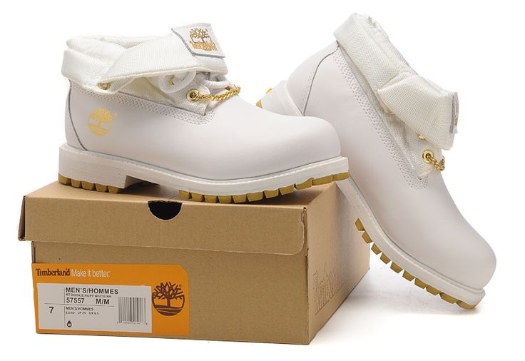 Timberland Authentic Men's Roll Top Boot With Gold-White,Fashion Winter Timberland Men Shoes,mens timberland roll top boot