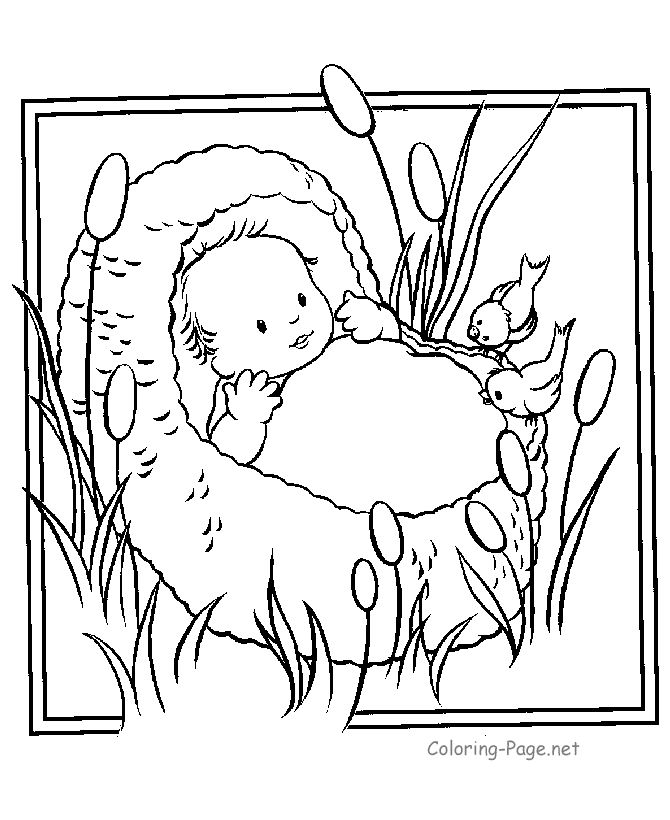 Baby Moses Crafts Preschool Bible Coloring Pages Inside