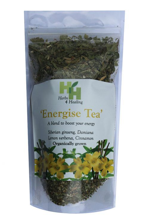 Energise Tea: A blend to boost your energy and vitality with Siberian Ginseng, Damiana, Lemon verbena and cinnamon. Organically Grown.  #organic #herbaltea #naturalremedies #herbalremedies