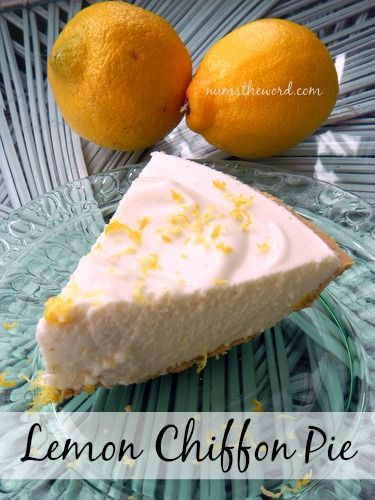 Lemon Chiffon Pie - This simple, light and fluffy dessert can be made into a pie or a dip. It is diabetic friendly and cholesterol free and tastes amazing!