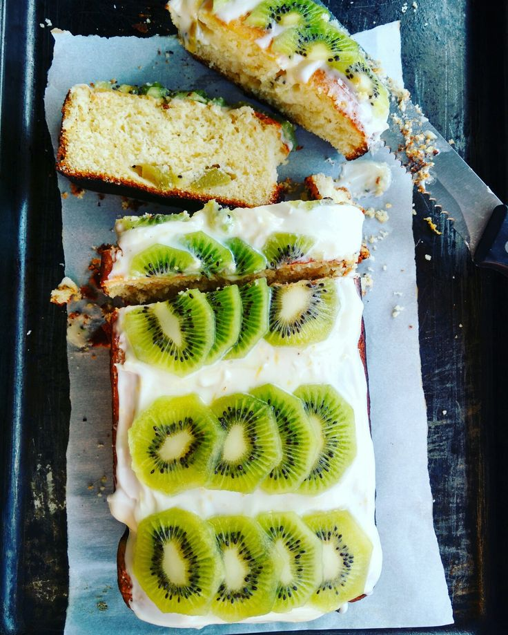 Kiwi Cake Loaf with Lemon Frosting: The bright green, almost creamy flesh of the kiwifruit speckled with tiny black seeds adds a dramatic tropical flair to this kiwi cake.