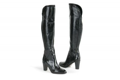 Le Pepe black patent knee-high boots