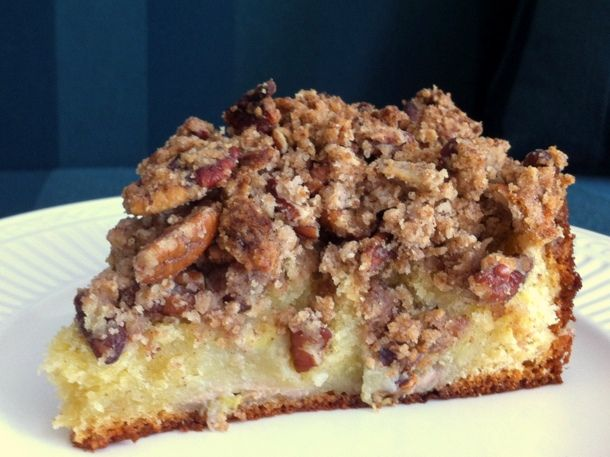 -wake and bake-banana pecan coffee cake - a moist banana cake packed with flavor and topped with a hep of sweet pecan streusel!