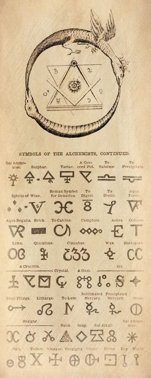 "Alchemy symbols; note the similarities between the upper emblem (the two triangles within the snake) & the Masonic ""square & compass""."
