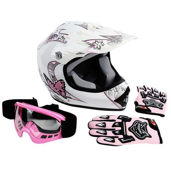 DOT Youth Pink Butterfly Dirt Bike BMX Helmet Motocross w/ Goggles+gloves S M L
