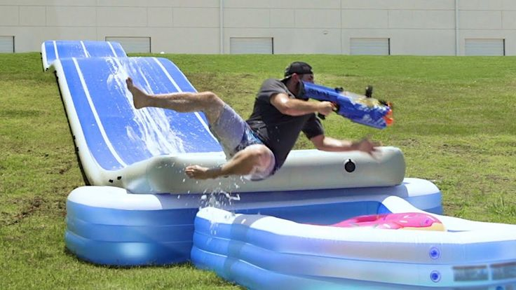 Nerf Slip and Slide Battle | Dude Perfect