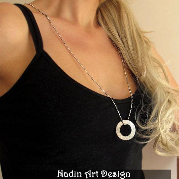 Lange Halskette mit Gravur-Anhänger / Silberkette von NadinArtDesign auf DaWanda.com