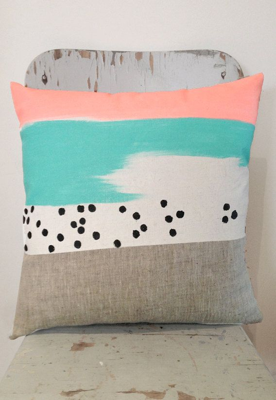 Degrassi art cushion - insert included, bright mint, neon peach and white on linen cushion for your home.