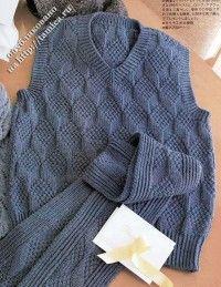 мужской жилет и шарф двухсторонний узор