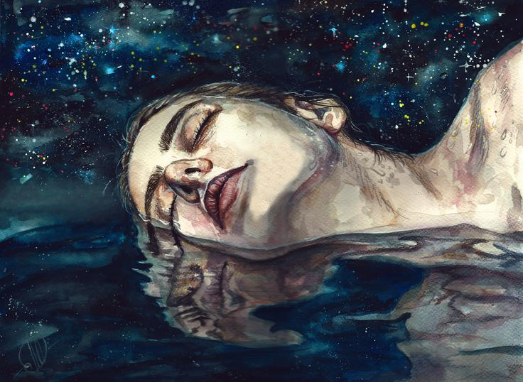 MIND OVER MATTER DREAM (Acrylic and Watercolor on Paper) by Lesya Poplavskaya