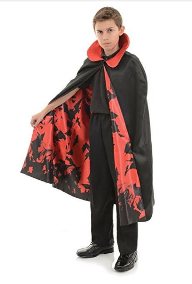 Underwraps Child One Size Vampire Cape with Bat Lining Costume Piece for Kids