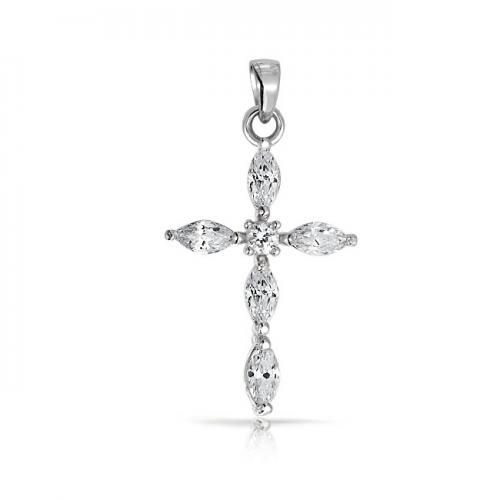 Bling Jewelry Vintage Style Marquise CZ Cross Pendant 925 Sterling Silver