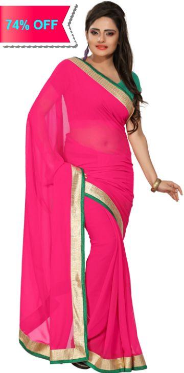 Silkbazar Solid Fashion Synthetic Chiffon Sari