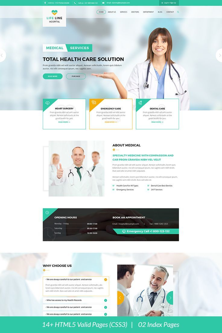 Life Line Hospital And Health Website Template 67698 Medical