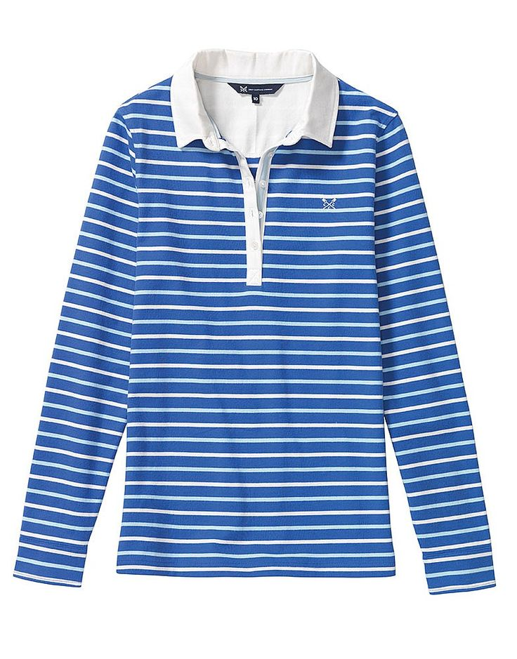 Buy our Women's Clothing, Rugby Top for £25.00 available in Amparo-blue-cool-blue-white-linen at Crew Clothing. For more Women's Tops & Tees, visit Crew Clothing.