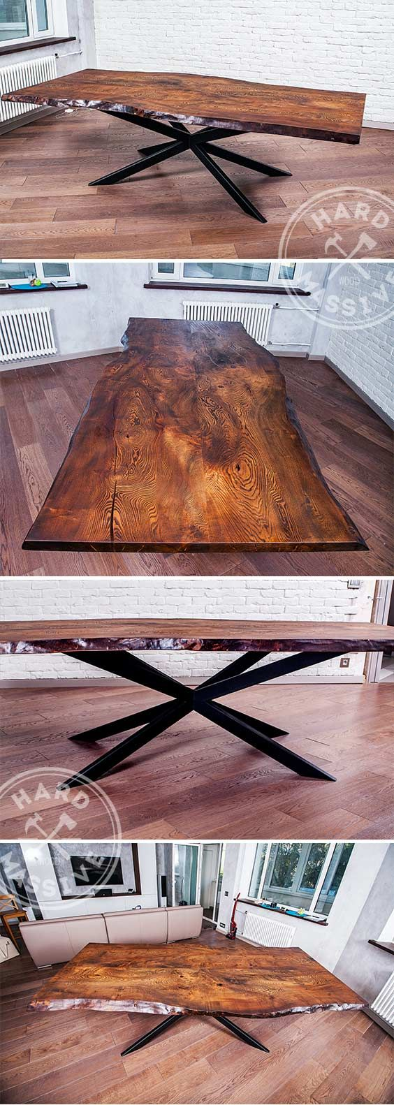 Table in the Modern Rustic style. Large dining table handmade from slab wood Chinar with a live edge. Age of the tree - more than 100 years! The thickness of the countertops - 7 cm. Base -. Metal | Стол в стиле Современный Рустик. Большой обеденный стол ручной работы из массива дерева Чинар с живым краем. Возраст дерева более 100 лет! Толщина столешницы - 7 см. Основание - металл. #modernrustic #diningwoodtable #largetable