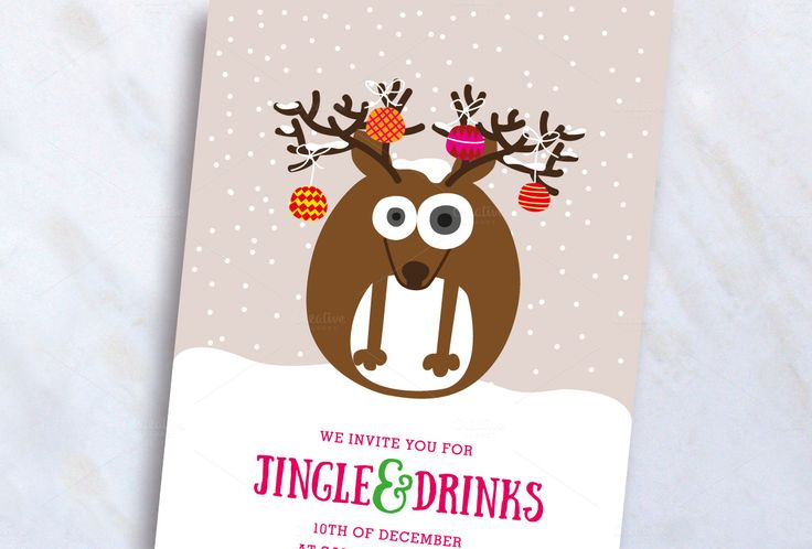 Reindeer Christmas Invite by stockhype on @creativemarket