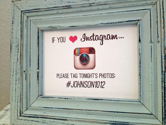 5x7 Instagram wedding sign - custom hashtag sign for wedding guests on Etsy, $6.50