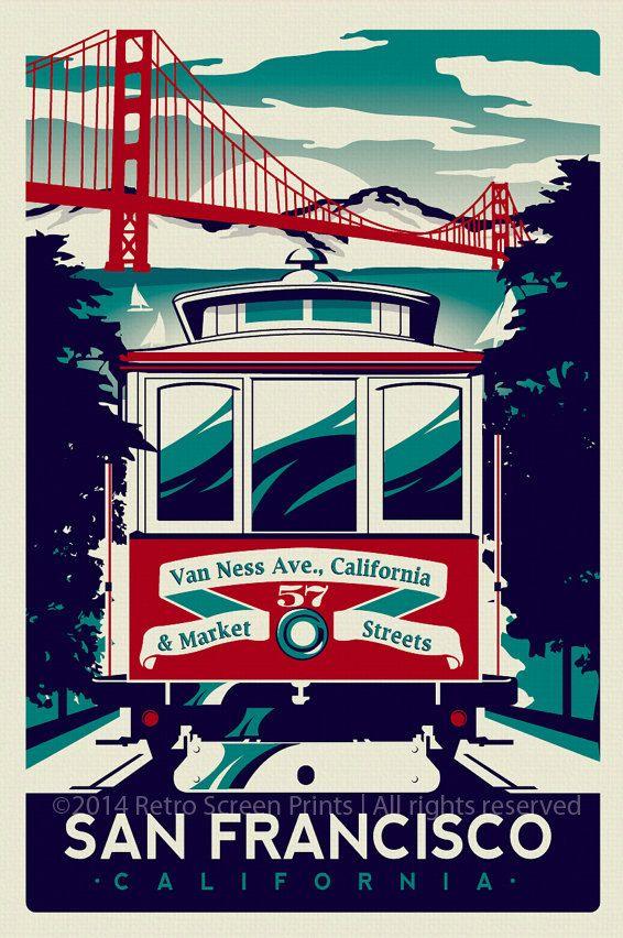 Téléphérique de San Francisco écran rétro imprimé affiche