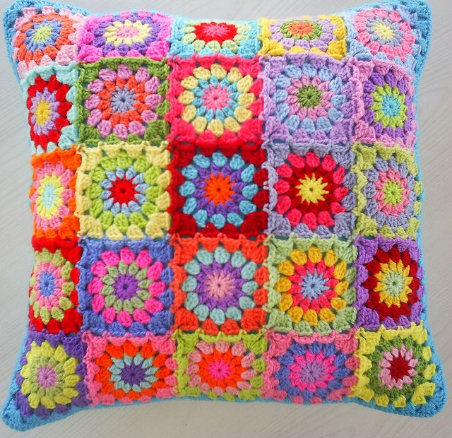 patchwork granny squares cushion cover by riavandermeulen, via Flickr
