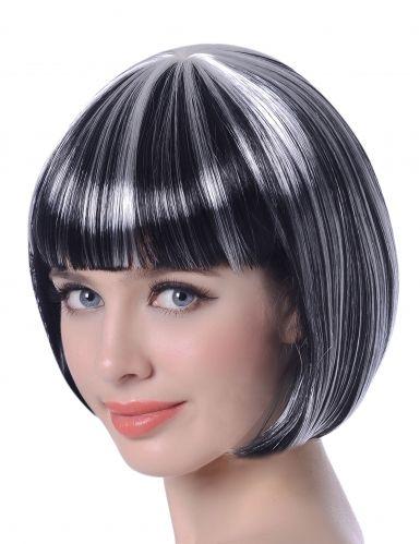 Parrucca caschetto nero con mèches bianche donna Halloween